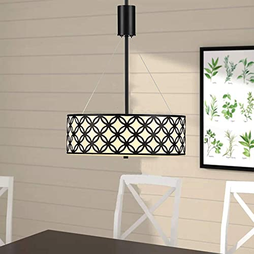 Cuaulans Modern Drum Shade Chandelier, 40 High 2-Light Chandeliers Glass Diffuser, Black Painted