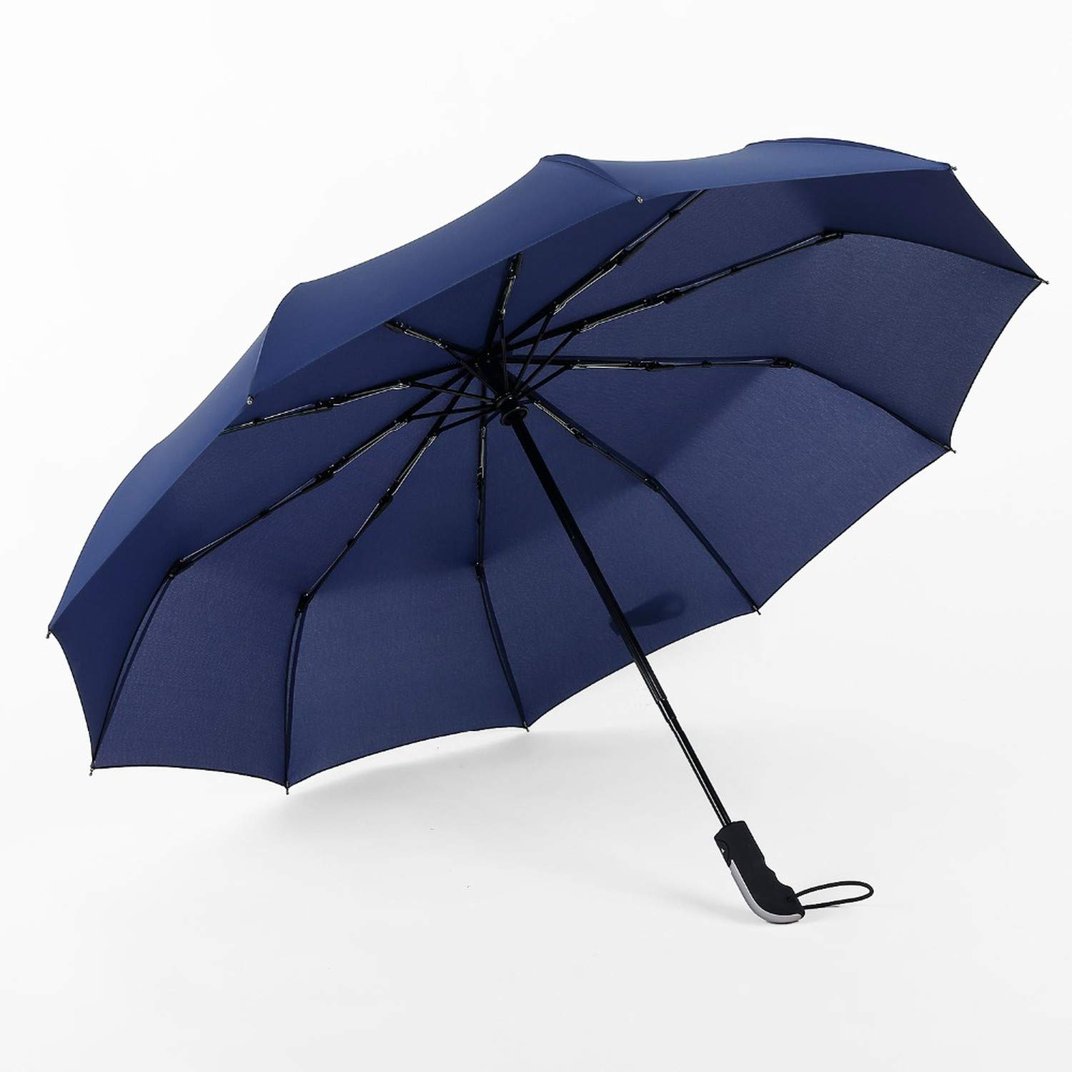 JESSE KAMM New Fully-automatic Three Folding Male Commercial Compact Large Strong Frame Windproof 10Ribs Gentle Black Umbrellas,5 piece random color,Russian Federation Fantastic-Journey SB-122