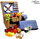 Picnic Basket Set – 2 Person Picnic Hamper Set – Waterproof Picnic Blanket Ceramic Plates Metal Flatware Wine Glasses S/P Shakers Bottle Opener Blue Checked Pattern Lining Picnic Set | Picnic Tote