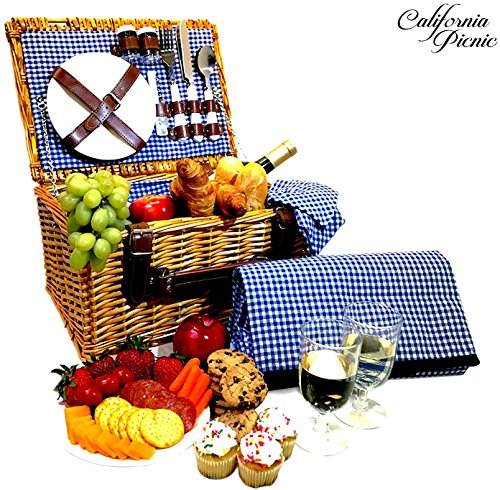 Picnic Basket Set - 2 Person Picnic Hamper Set - Waterproof Picnic Blanket Ceramic Plates Metal Flatware Wine Glasses S/P Shakers Bottle Opener Blue Checked Pattern Lining Picnic Set | Picnic Tote