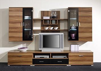 Moderne Wohnwand/Anbauwand Lana II, Walnuss/schwarz