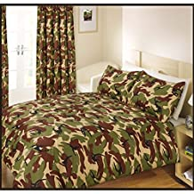 GREEN BROWN CAMOUFLAGE COTTON BLEND CANADIAN TWIN (137CM X 198CM - UK SINGLE) DUVET COMFORTER COVER