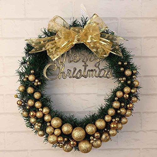 Coohole 11.8Inch 11.8'' Christmas Wreath with Gold Powder Ball for Christmas Seasonal Decor Ship from USA (A-11.8Inch)