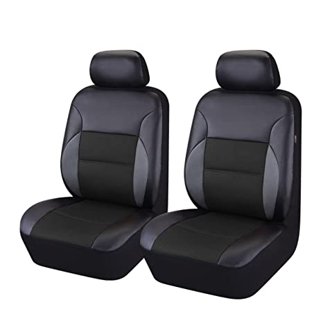 Car Pass 6 Pieces Universal Two Front Leather Car Seat Covers Set Black And Black