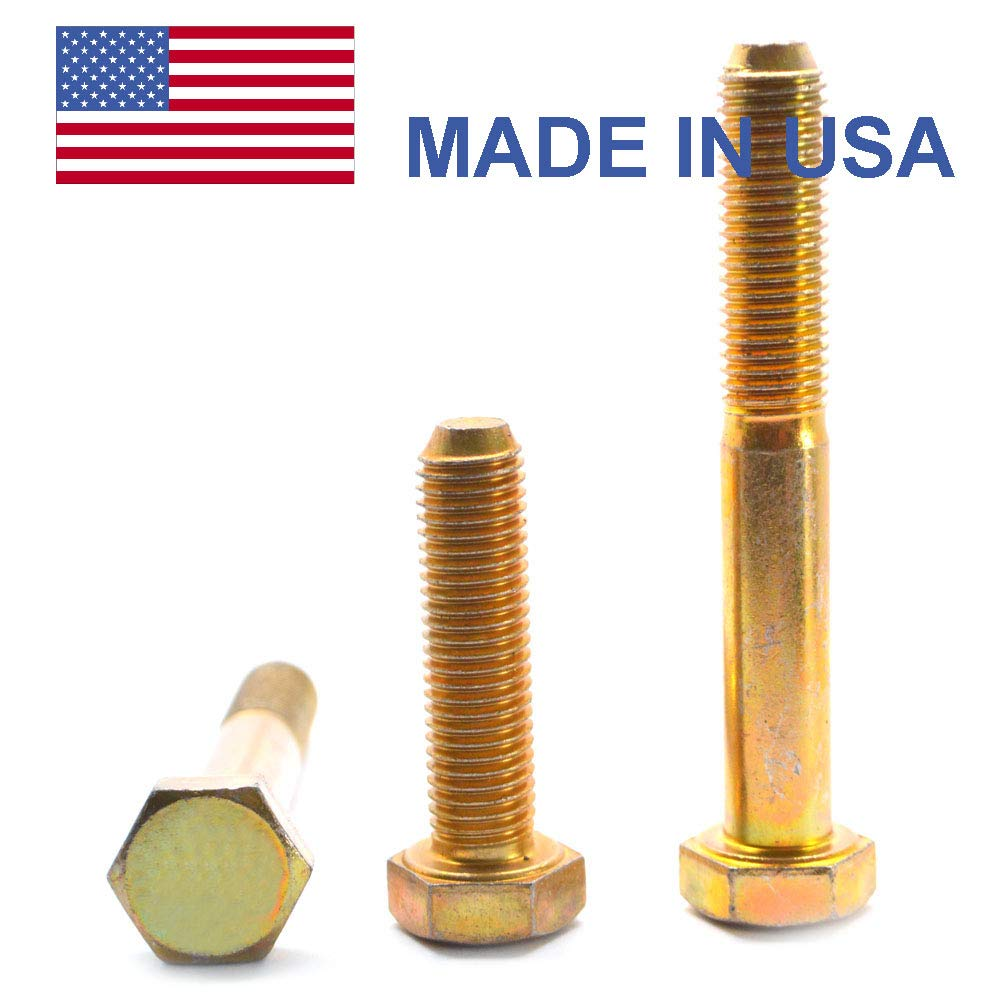 9/16''-18 x 4 (PT) Fine Thread Grade 8 Hex Cap Screw (Bolt) - USA Alloy Steel Yellow Zinc Plated Pk 10