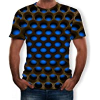 Exteren_Mens Baggy SOID Color 3D Printed Short Sleeve Retro T Shirts Tops Blouse
