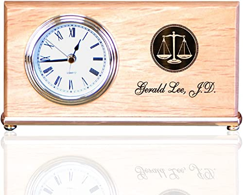 Personalized Maple Wood Wedge Alarm Clocks for Lawyers