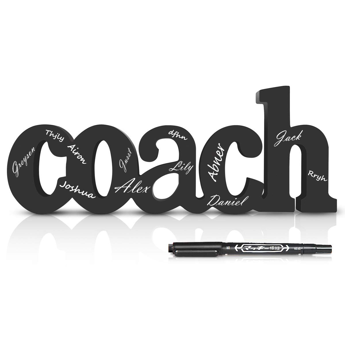 Lisol Coach Wood Words | Wood Words Ready to Autograph | Personalized Coach Gift | Shelf and Desk Décor by Lisol