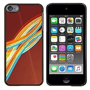TECHCASE---Cubierta de la caja de protección para la piel dura ** Apple iPod Touch 6 6th Touch6 ** --Colorful Rainbow Stripes Ondas Arte Líneas modernas