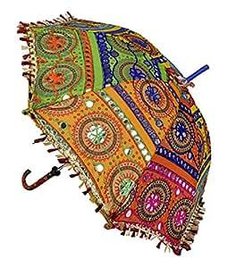 Diseño de bordado Patchwork algodón paraguas para las niñas 24x 28pulgadas
