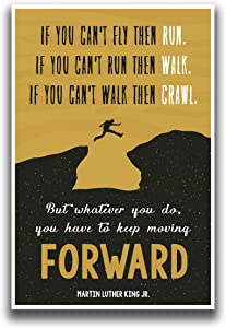 JSC454 Keep Moving Forward Martin Luther King Jr Quote Poster Jumping Figure   18-Inches by 12-Inches   Motivational Inspirational   Premium 100lb Gloss Poster Paper