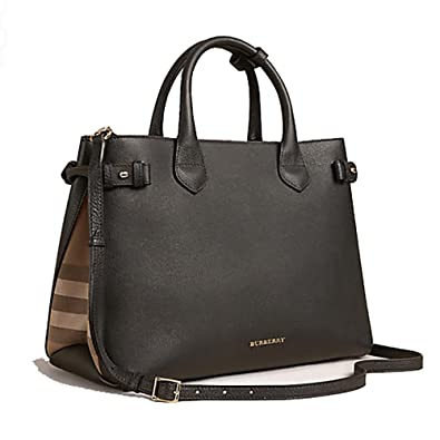 9c08f538f704 Tote Bag Handbag Authentic Burberry The Medium Banner in Leather and House  Check Black Item 39589781