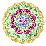 Large Round Lotus Flower Mandala Tapestry Beach Towel & Blanket Table Cloth Fringe Tassel Beach Blanket Yoga Mat (Yellow-2)