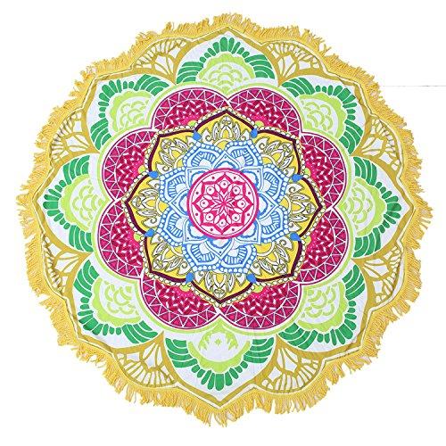 Large Round Lotus Flower Mandala Tapestry Beach Towel & Blanket Table Cloth Fringe Tassel Beach Blanket Yoga Mat (Yellow-2) by Lucky Shop1234