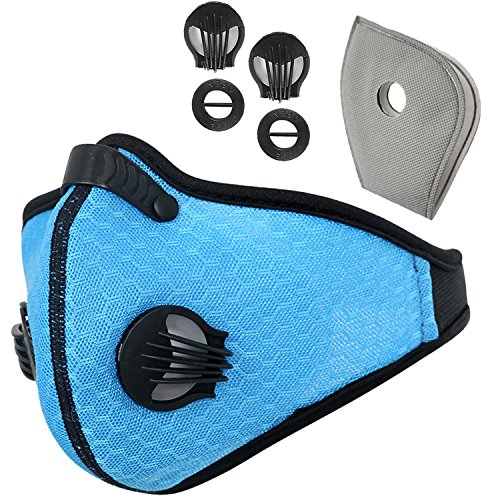 Gravity Carbon (Activated Carbon Dustproof Dust Mask - with Extra Filter Cotton Sheet and Valves for Exhaust Gas, Anti Pollen Allergy, PM2.5, Running, Cycling, Outdoor Activities (Blue, Type 1))