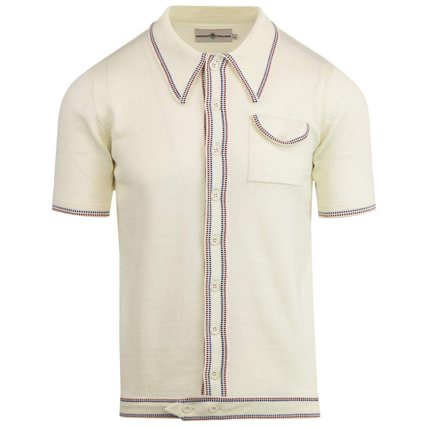 Retro Clothing for Men | Vintage Men's Fashion Madcap England Crawdaddy Micro Dash Knit Polo Caramel MC166 £34.99 AT vintagedancer.com