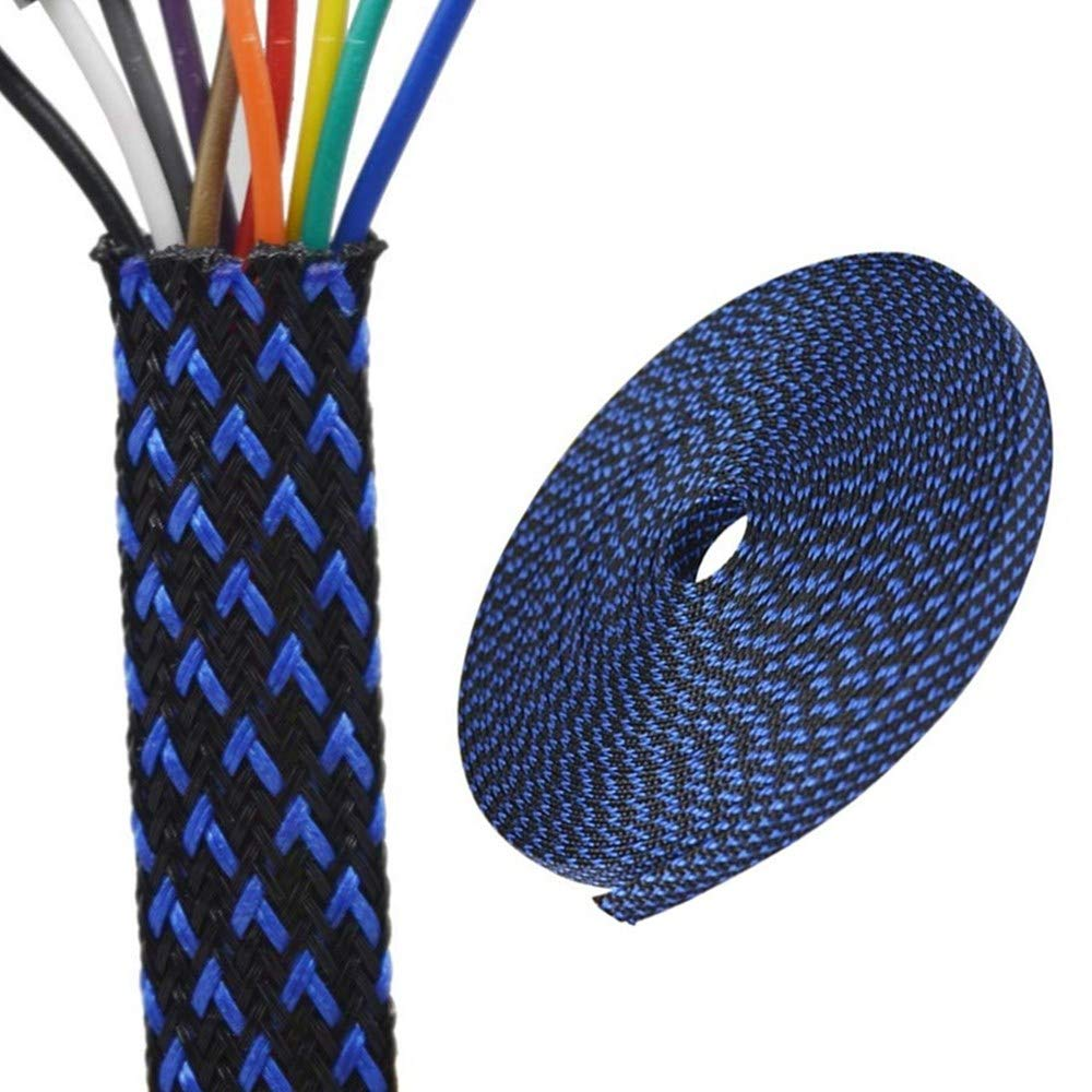 PET Expandable Braided Sleeving 3/8 inch Flexo Cable Sleeve Braided Sleeve for Braided Wire Sleeve Management 25 FT Blue&Black