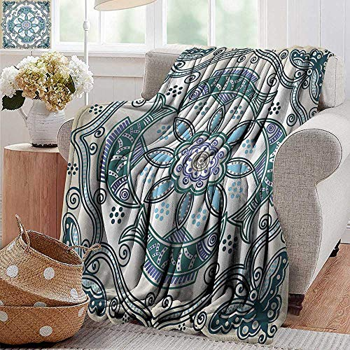 (PearlRolan Weighted Blanket Adult,Floral,Victorian Butterfly and Curved Fish Pattern Eastern Shabby Chic Image,Teal Beige Violet Blue,Soft, Fuzzy, Cozy, Lightweight Blankets 60