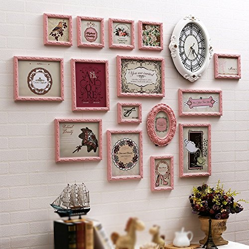 Photo Wall, European Sticker Solid Wood Photo Wall, Retro Nostalgic Style Frame Wall ( Color : 2# ) by PM PhotoShop Wall
