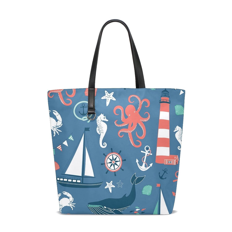GIOVANIOR Nautical Anchor Starfish Whale Beach Tote Bags Travel Shoulder Handbags for Women Girls