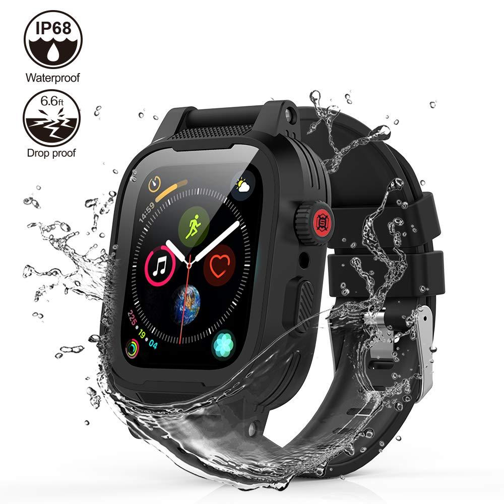 ShellBox [Waterproof Case for 42mm] AIUERU Waterproof Apple Watch Case with Resilient Shock Absorption for 42mm Apple Watch Series 3 / Series2 / with 2 Soft Silicone Watch Band - Black