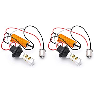 KATUR BAU15S 7507 PY21W 1056 5009 White/Amber Switchback LED Turn Signal Light Canbus Error Free 2835 42SMD 800Lumens 12V LED with 50W 6ohm Load Resistors (Pack of 2): Automotive