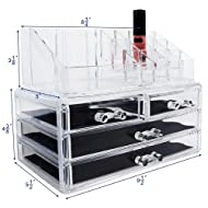 Ikee Design Acrylic Jewelry & Cosmetic Storage Display Boxes, 9.4 x 5.4 x 7.2 inches, 1 1 Top 4 Drawers
