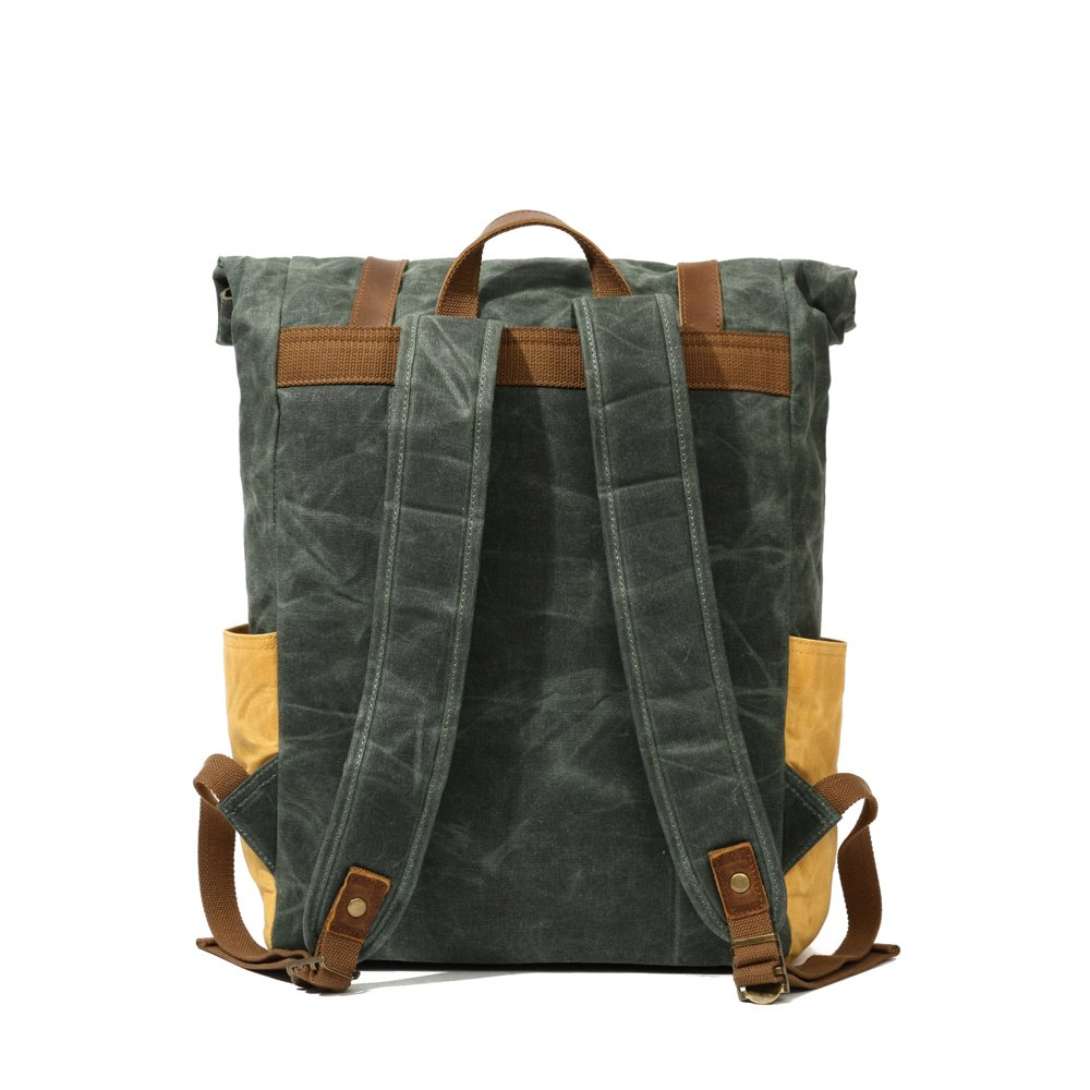 Partrisee Vintage Waxed Canvas Leather Backpack Large 17'' laptop Purse Rucksack School Gift Bag for men women-Lake Green by Partrisee (Image #7)