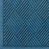 M+A Matting 221 Waterhog Fashion Diamond Polypropylene Fiber Entrance Indoor/Outdoor Floor Mat, SBR Rubber Backing, 3' Length x 2' Width, 3/8'' Thick, Medium Blue