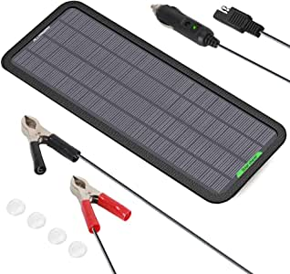 ALLPOWERS 12V 5W Portable Solar Car Boat Power Solar Panel Battery Charger Maintainer for Automotive Motorcycle Tractor Boat RV Batteries