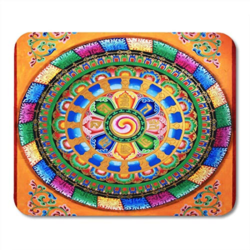 Mouse Pads Asia Colorful Ancient Buddhist Fresco Tibetan of Mural Antique Buddha Mouse Pad for Notebooks,Desktop Computers Mouse Mats, Office Supplies
