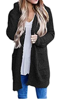 HTOOHTOOH Womens Open Front Loose Mid Long Length Casual Solid Color Sweatshirt Jackets