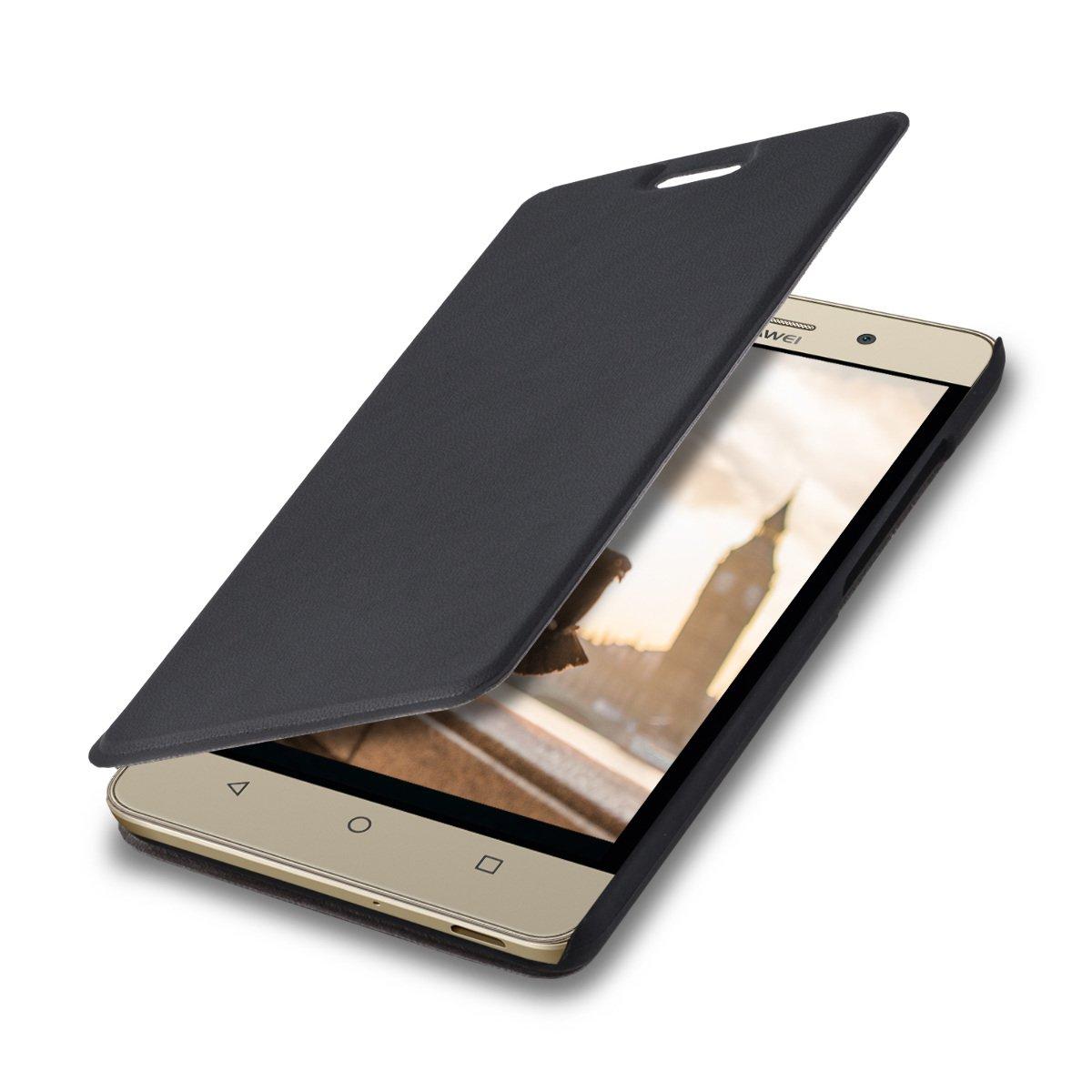 kwmobile Funda para Huawei G Play Mini - Carcasa con [Tapa Tipo Libro] para móvil - Case Protector en [Negro]