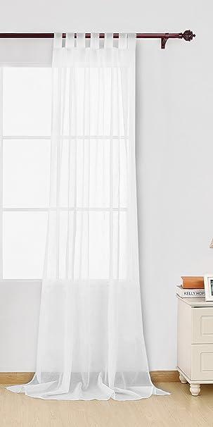 Deconovo Vorhang Transparent Gardinen Wohnzimmer Voile Vorhang  Schlaufenschal 245x140 cm Weiß