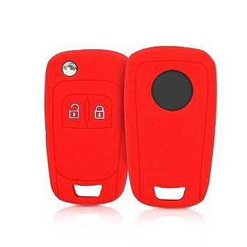 kwmobile Funda de Silicona para Llave Plegable de 2 Botones para Coche Opel Chevrolet - Carcasa Protectora Suave de Silicona - Case Mando de Auto Rojo