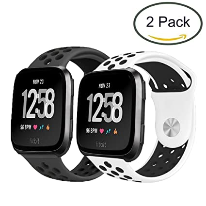 for Fitbit Versa Lite Band, Lamshaw Silicone Sport Band with Ventilation Holes Replacement Straps for Fitbit Versa/Fitbit Versa Lite 2019 Smartwatch ...