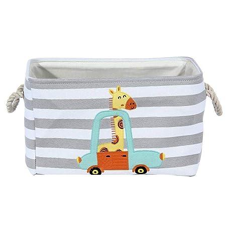 Bogget Cute Lion Giraffe Cartoon Canvas Storage Basket Toy Ni/ños Cesta de lavander/ía Plegable Bolsa de Almacenamiento de Ropa Sucia