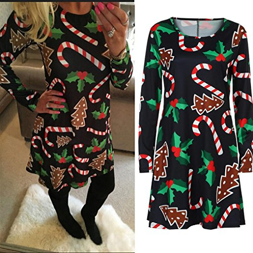 Franterd Womens Christmas Dress, Long Sleeve Snowman Swing Flared Skater Clothes (L, Black) ()