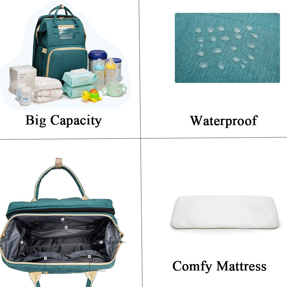 Foldable Diaper Bag Backpack Changing Station with Comfortable Mattress Light Green Washable Babies Daily Crib Infant Sleeper Bed(for 0-1 Year Olds) 3 in 1Portable Baby Bassinet