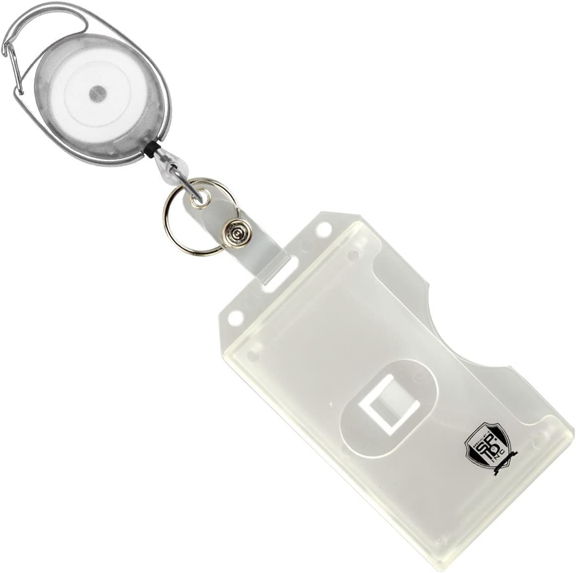 by Specialist ID Clear Specialist ID Carabiner Badge Reel with Vertical Multi Card Badge Holder and Key Ring