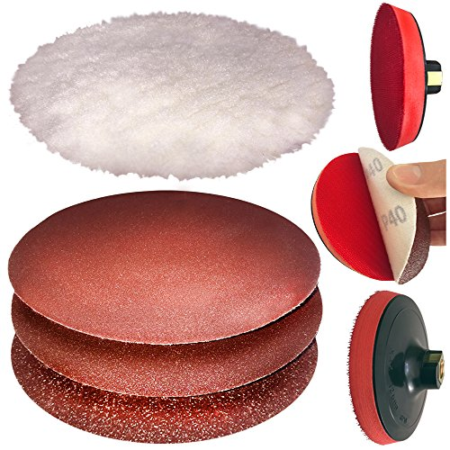 "OCM 5 INCH. POLISHING / SANDING SET - INCLUDES 5/8"" 11 THREAD BACKER PLATE W/ SANDING PADS AND SYNTHETIC WOOL HOOK AND LOOP BUFFING BONNET, PAD 5 PC SET"