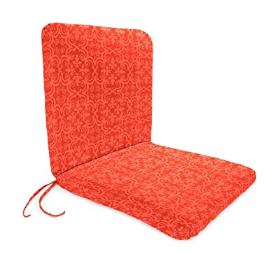 Plow & Hearth Polyester Classic Chair Cushion with Ties, Seat 19 x 17 x 2.5 Back 19 x 19 x 2.5 - Persimmon Block Print : Garden & Outdoor
