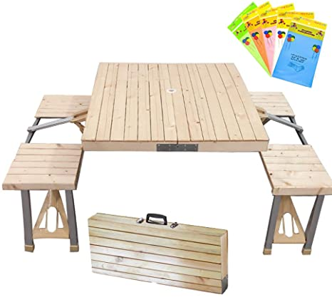 Stoncel Folding Table And Chairs Set Portable Picnic Table With 4 Seats For Outdoor Camping Picnic Bbq Party And Dining Wooden Amazon Ca Home Kitchen