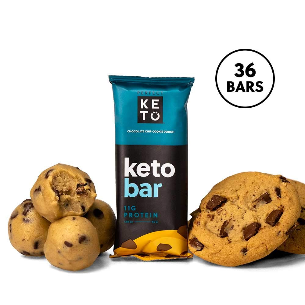 Perfect Keto Bar, Keto Snack (12 Count), No Added Sugar. 11g of Protein, Coconut Oil, and Collagen, with a Touch of Sea Salt and Stevia. (36 Bars (3 Boxes), Choc Chip Cookie Dough) by Perfect Keto