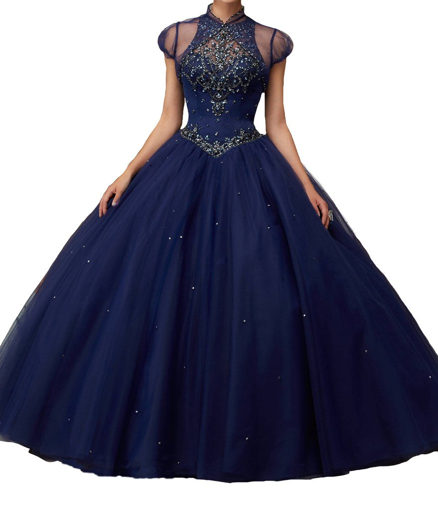 BoShi Women's O neck Sweet 16 Beads Wedding Party Christmas Quinceanera Dresses 0 US Navy Blue