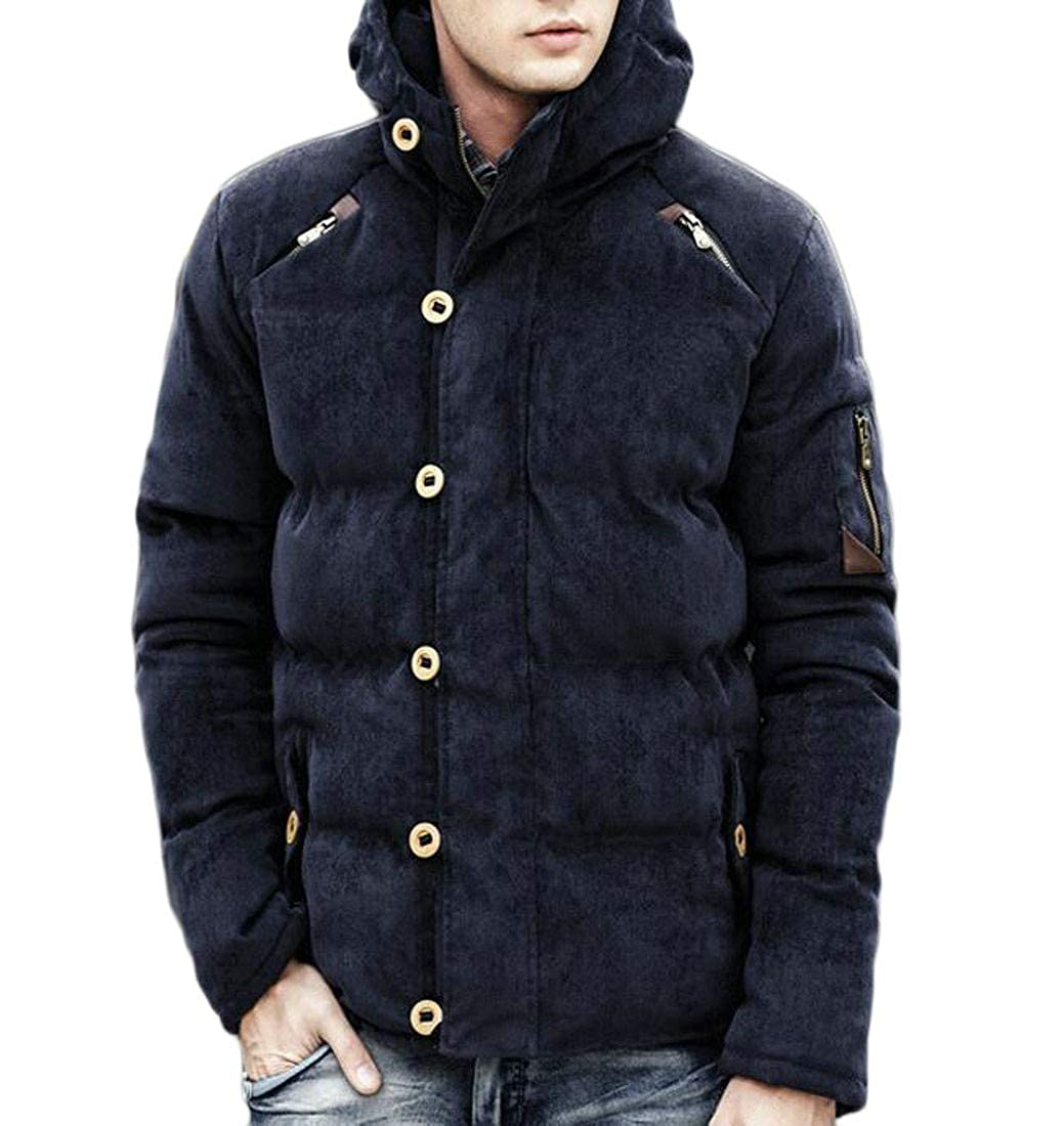 Cromoncent Mens Casual Corduroy Thick Padded Hooded Button Parka Jacket Coat