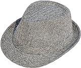 Livingston Unisex Short Brim Manhattan Structured Gangster Trilby Fedora Hat, Black/White