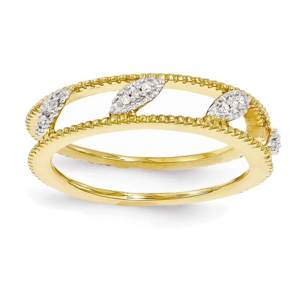 Sterling Silver Stackable Expressions Gold-plated Diamond Jacket Ring Size 6 by Jewelry Adviser Stackable Rings
