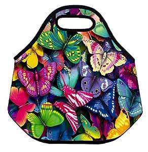 Las mariposas con aislante suave caja de almuerzo de neopreno bolsa de comida caliente bolsa bolso del refrigerador para la escuela oficina de trabajo