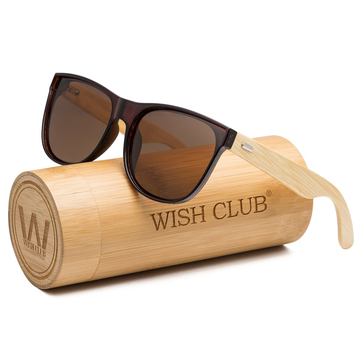 WISH CLUB Bamboo Cat Eye Sunglasses Colored Fashion UV Protect for Women Men with Case (Grey)